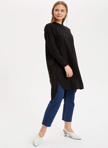 DeFacto Arkası Nakışlı Uzun Tunik Siyah